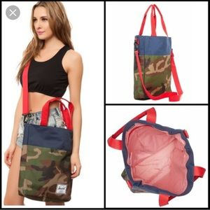 Herschel camo and navy canvas unisex tote bag
